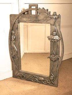 Traditional Sale Art Deco Mirror Vintage Large Art Nouveau Style Pewter Wall Mirror S Atlas Large Art Nouveau Style Pewter Wall Mirror Art Deco Mirror