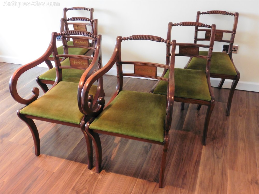 Set Of 6 X Regency Style Brass Inlaid Dining Chairs  Regency Style Furniture R56