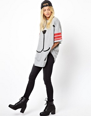 Image 4 of ASOS Oversized T-Shirt with Stripe Sleeve and Dog Face