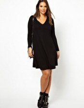 Image 4 ofASOS CURVE Exclusive Swing Dress With V-Neck And Long Sleeve