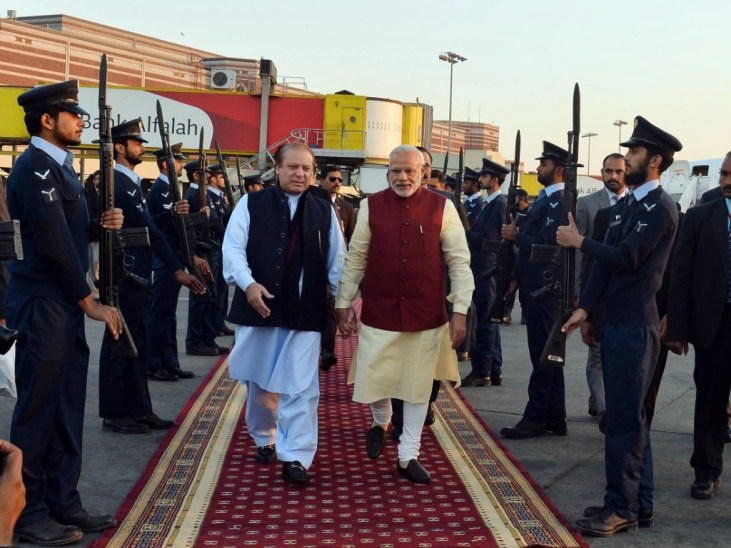 Prime Minister Narendra Modi received by then-Prime Minister of Pakistan, Nawaz Sharif, at Lahore, Pakistan on December 25, 2015. (Photograph: PIB)