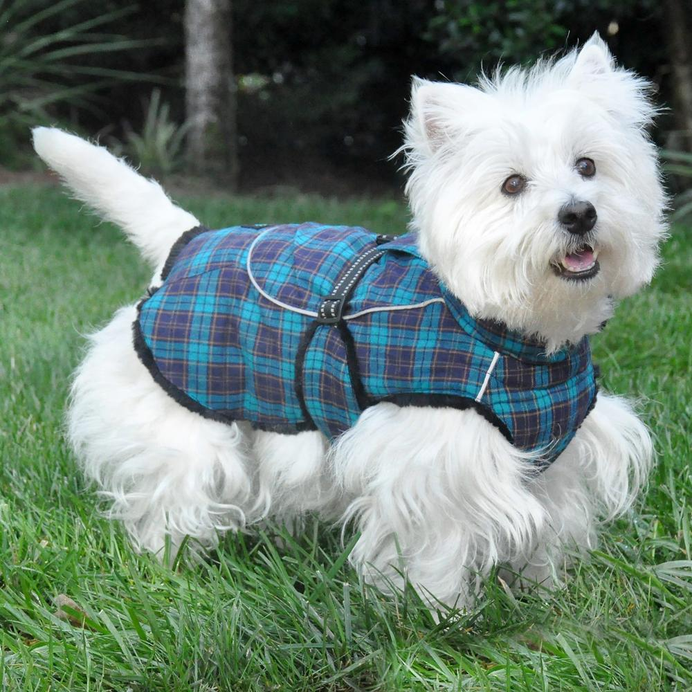 Glancing Alpine All Wear Dog Coat Flannel Hunter Green Navy Blue Plaid 1755 Dog Coat Pattern Types Dog Coat Pattern Easy bark post Dog Coat Pattern