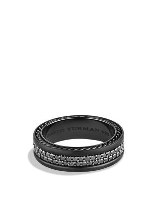 david yurman streamline two row band ring with black diamonds ID david yurman wedding rings David Yurman Streamline Two Row Band Ring with Black Diamonds Bloomingdale s