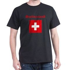 Swiss Flag Black T-Shirt