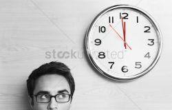 Small Of Looking At Clock