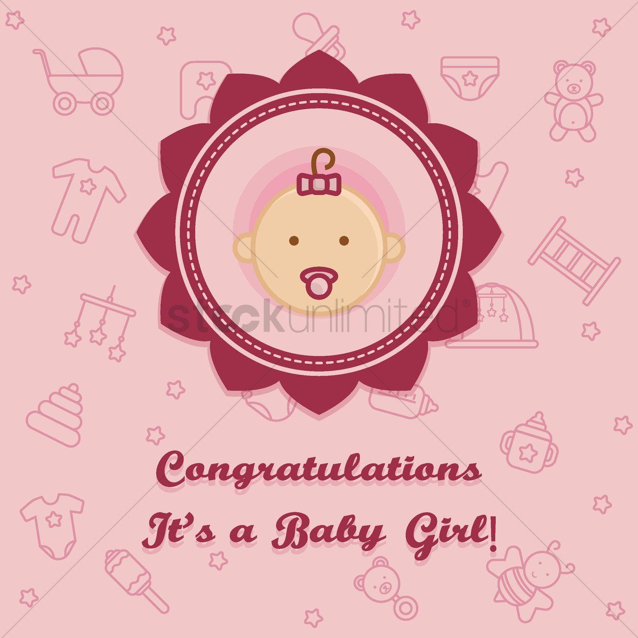 Simple Congratulations A Baby Girl Card Vector Graphic Congratulations A Baby Girl Card Vector Image Congratulations Baby Girl Gif Congratulations Baby Girl Card Template baby shower Congratulations Baby Girl