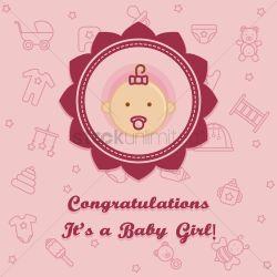 Simple Congratulations A Baby Girl Card Vector Graphic Congratulations A Baby Girl Card Vector Image Congratulations Baby Girl Gif Congratulations Baby Girl Card Template