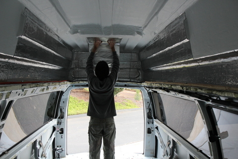 Installing sound deadening. The lowest part of the camper top is still several inches above my head.