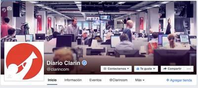 La página de Clarín en Facebook