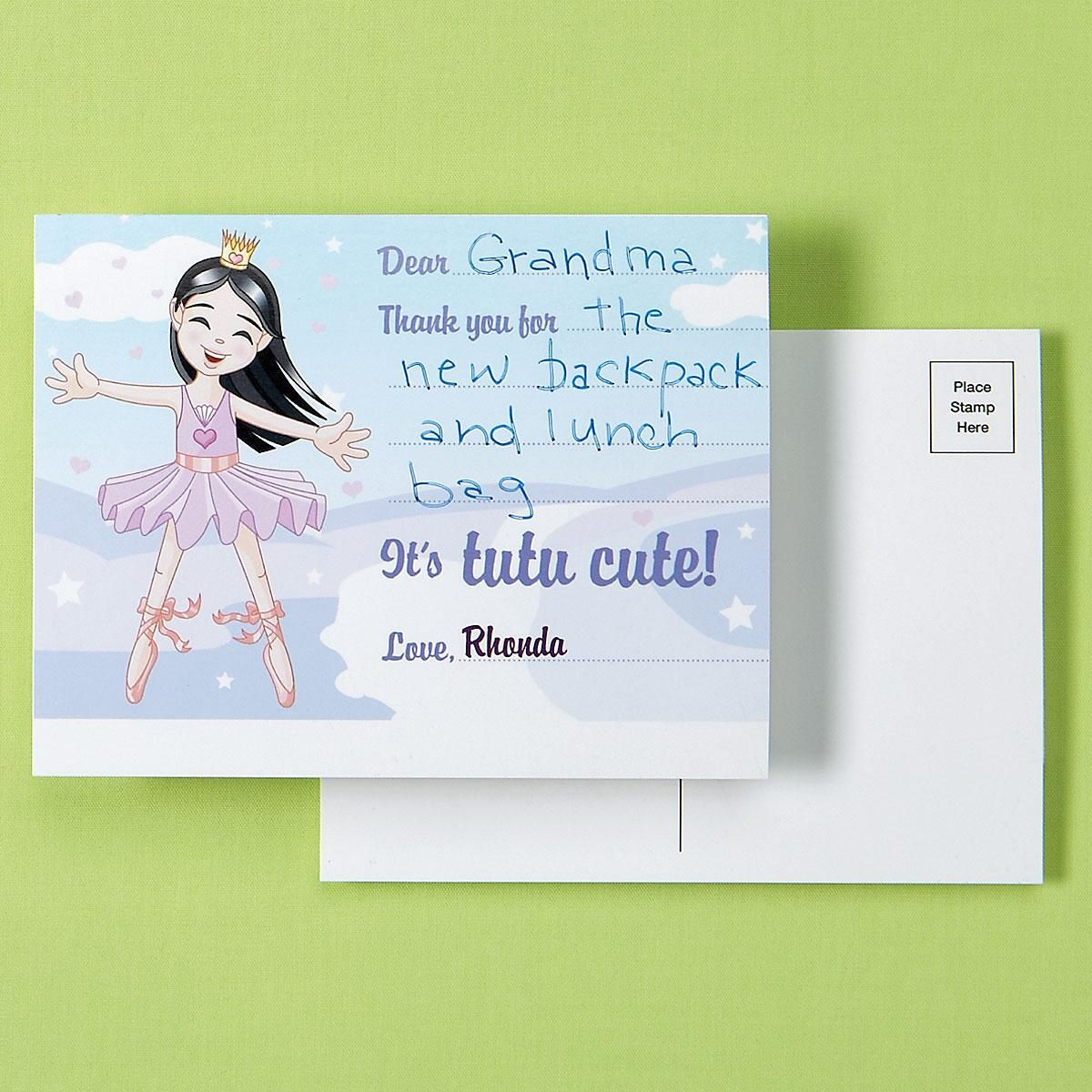 Pretentious Kids Ballerina Personalized Thank You Postcards Kids Ballerina Personalized Thank You Postcards Current Catalog Thank You Postcards Thank You Postcards From Teacher cards Thank You Postcards