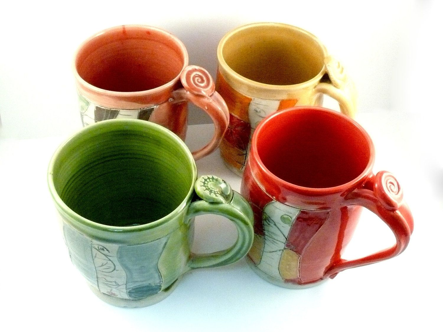 Pool Glazed Ceramic Ounce Coffee Made To Order From Blue Sky Pottery Buy Hand Made Four Coffee Mugs Set Carved Glazed Buy Hand Made Four Coffee Mugs Set Carved furniture Unique Ceramic Mugs