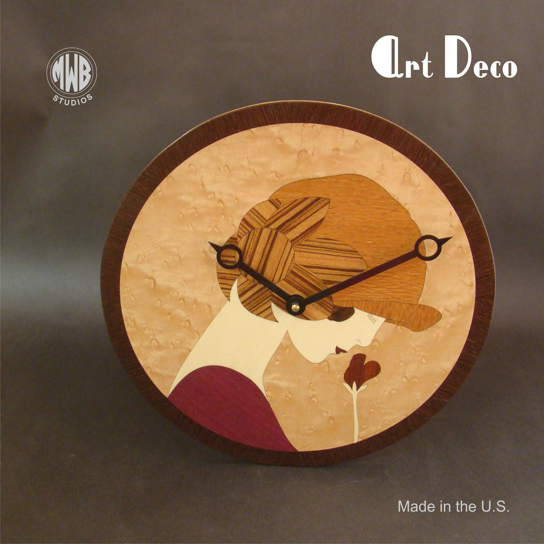 Lovable Inlaid Buy A Custom Art Deco Styled Wall Clock Made Inlaid Art Deco Clock Hands Art Deco Clocks Facts Custom Made Art Deco Styled Wall Clock Made houzz 01 Art Deco Clock
