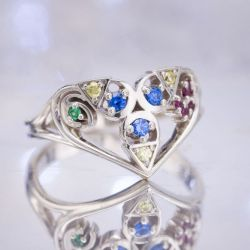 Considerable Bright Gem Colors Make This A Engagement Blending Geeky Engagement Rings Nerdy Wedding Bands Curves Spiritual Stones From Legend