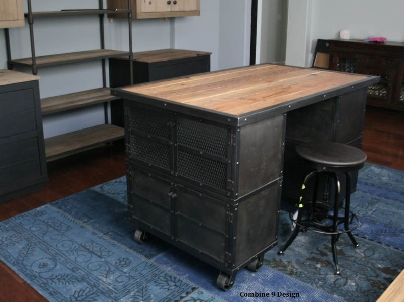 Large Of Rustic Industrial Kitchen Island