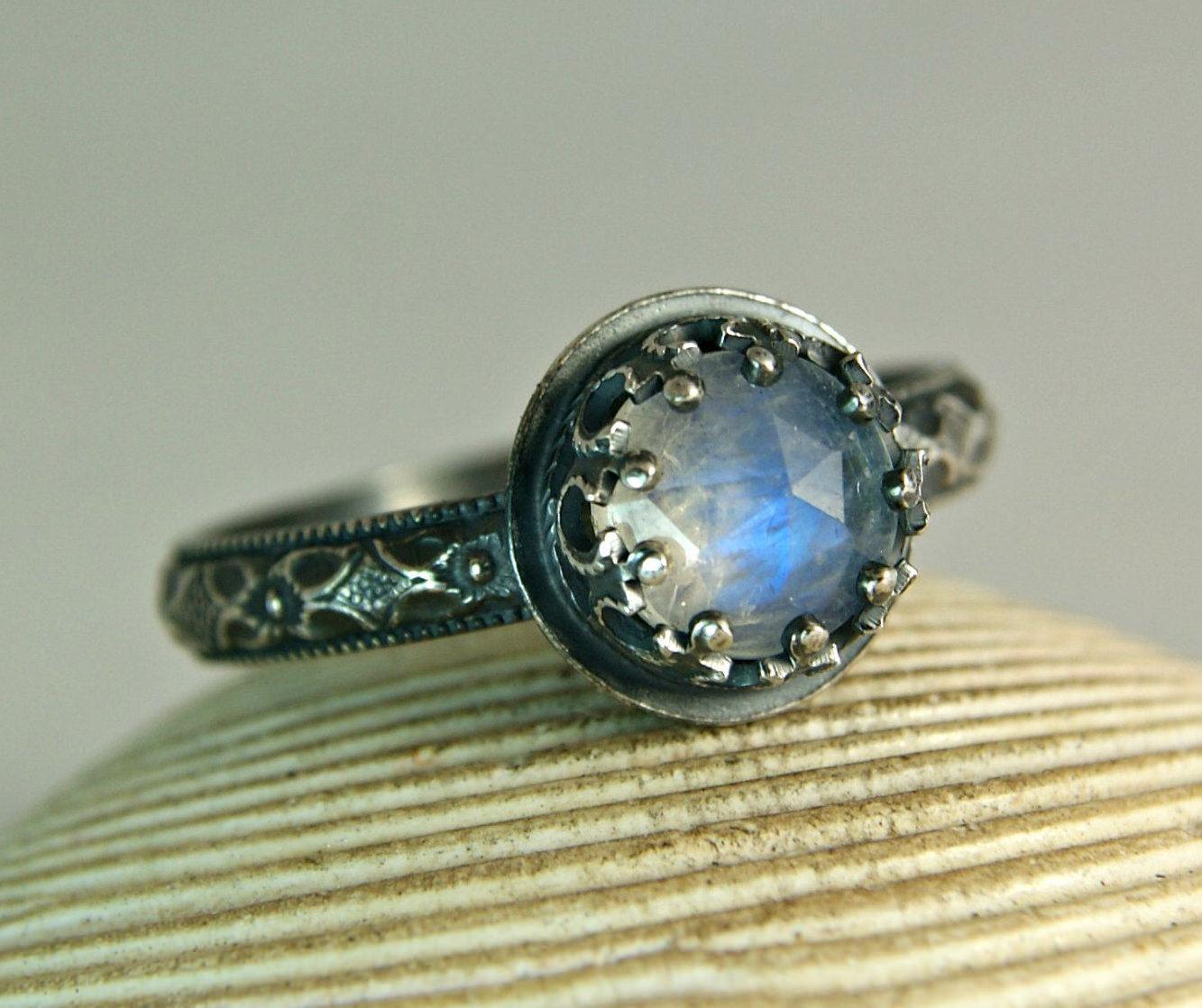 black and blue wedding ring moonstone wedding rings Moonstone Blue Ring