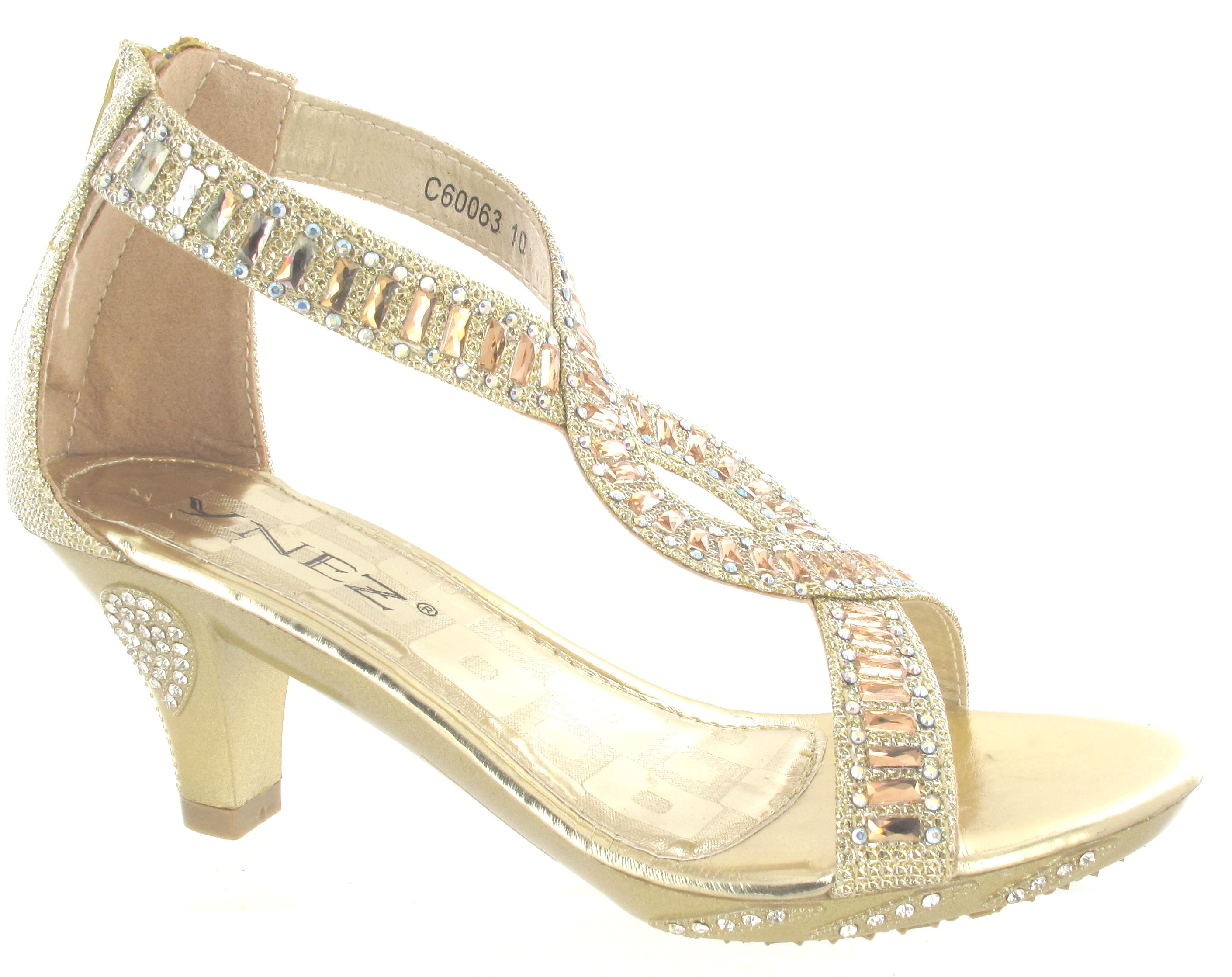 silver heels for wedding GIRLS HIGH HEEL FANCY PARTY WEDDING KIDS DIAMANTE