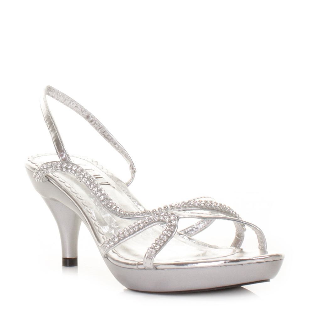 silver heels for wedding Silver Shoes Kitten Heel Wedding