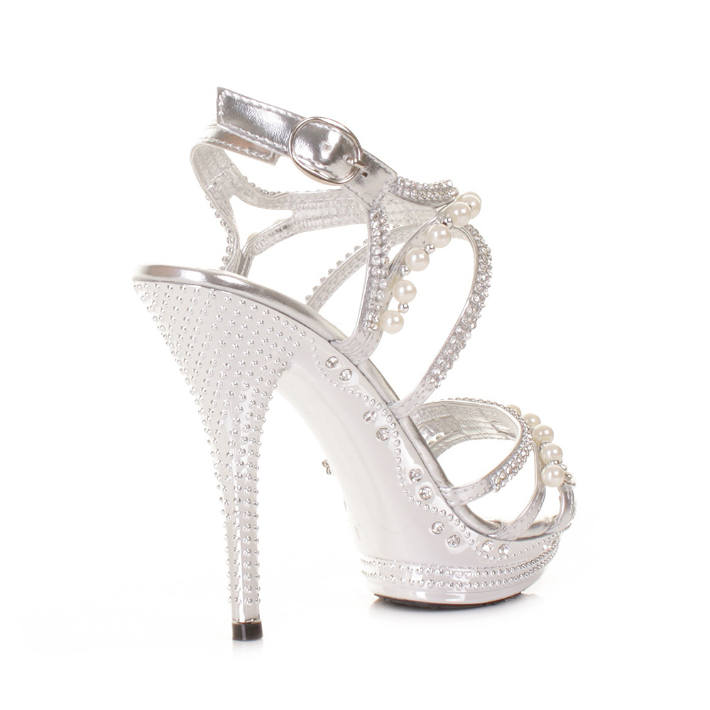 shoes women shoes bridal silver heels for wedding Alex Marie Maddeli Hotfix Peep Toe Pumps