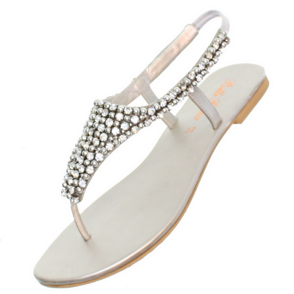 dressy flat sandals for wedding uk wedding sandals Womens Flat Diamante Sparkly Toe Post Silver Party Wedding Sandals