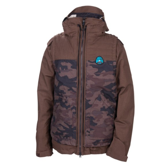 686 Smarty Satellite Mens Snowboard Jacket Choc Denim Large New Sample 2013