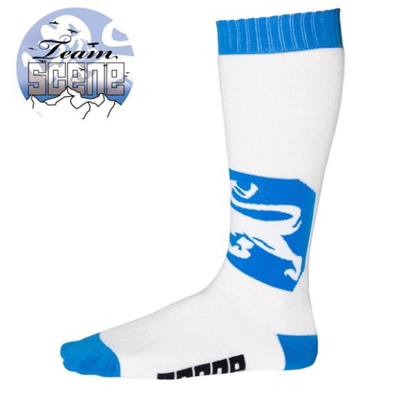 Scene Socks Team Lion pro snowboard ski socks 2013 in Blue and White