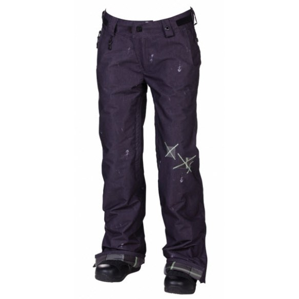 686 LTD Patchwork Denim Womens Snowboard Pants Black Sample Medium 2013