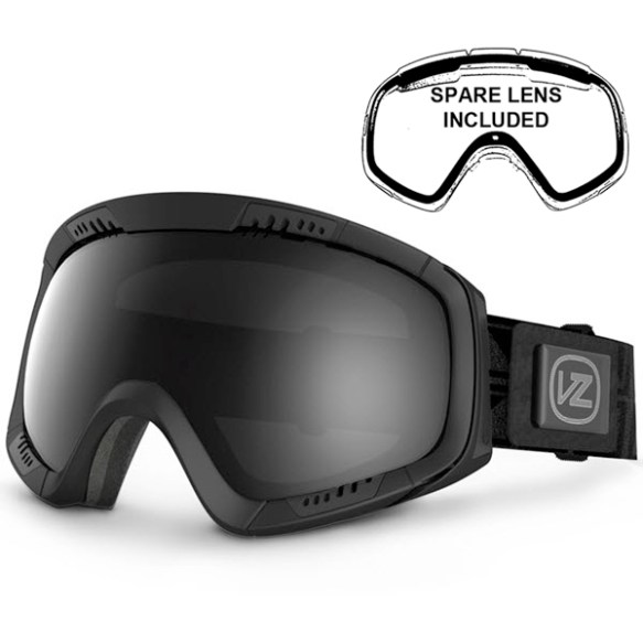 Von Zipper Feenom Goggles Black Satin Black Chrome Lens 2014 Plus Free Lens