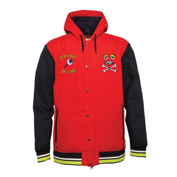 686 Snaggletooth Campus Snowboard Jacket Red Large Sample 2015