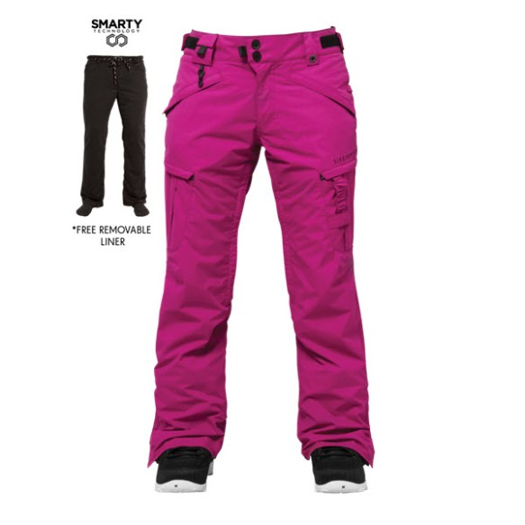686 Authentic Smarty Cargo Womens Snowboard Pants Orchid Medium Sample 2015