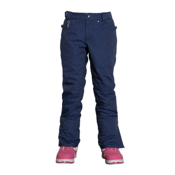 686 Authentic Meadow Girls Snowboard Pants Indigo Denim Kids Medium Sample 2015