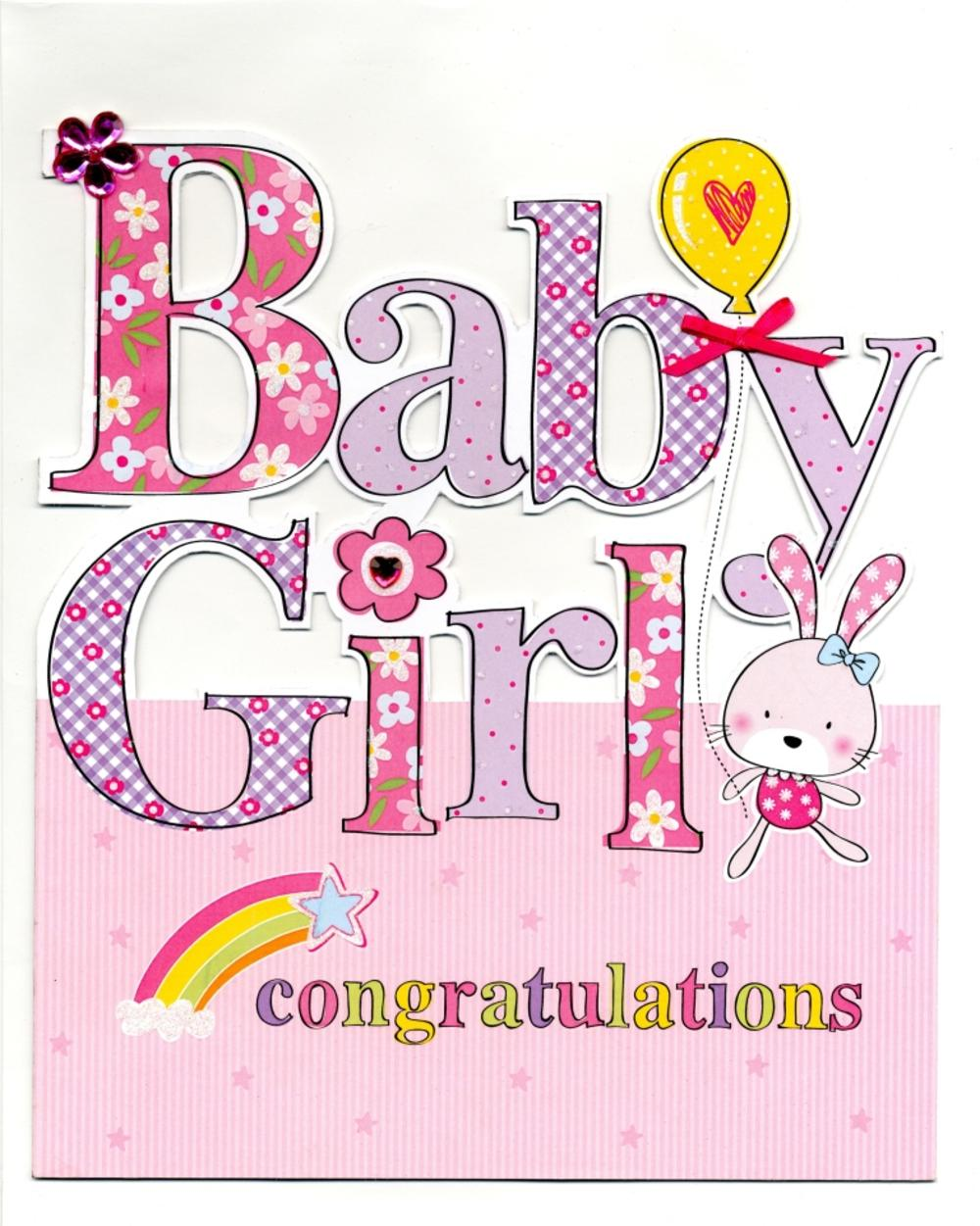 Congenial Large New Baby Girl Congratulations Greeting Card Large New Baby Girl Congratulations Greeting Card Cards Love Kates Congratulations Baby Girl Pics Congratulations Baby Girl Balloons baby shower Congratulations Baby Girl