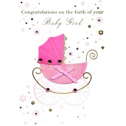 Majestic Congratulations Birth New Baby Girl Greeting Card Congratulations Birth New Baby Girl Greeting Card Cards Love Kates Congratulations On Your Baby Girl Card Congratulations On Your Baby Girl C