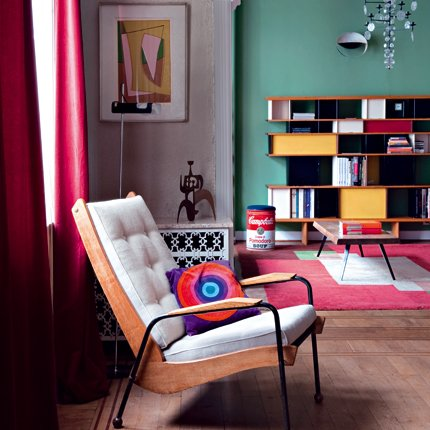 Departamento con muebles y colores retro vintage for Muebles departamento