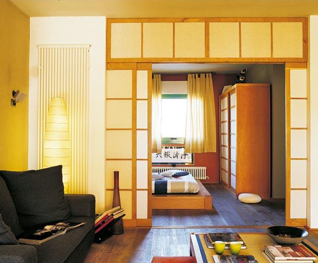 decoración de interiores estilo japones:Departamento pequeño de 2 ambientes en estilo oriental