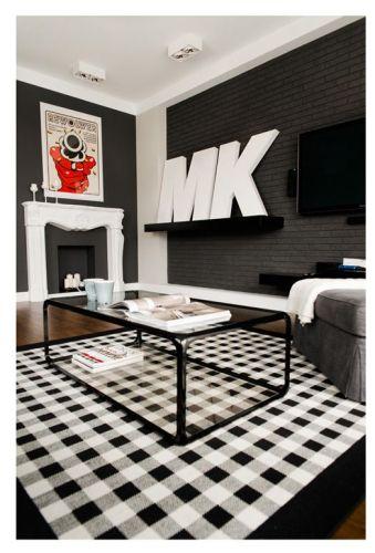 Interiores departamento en blanco y negro 2