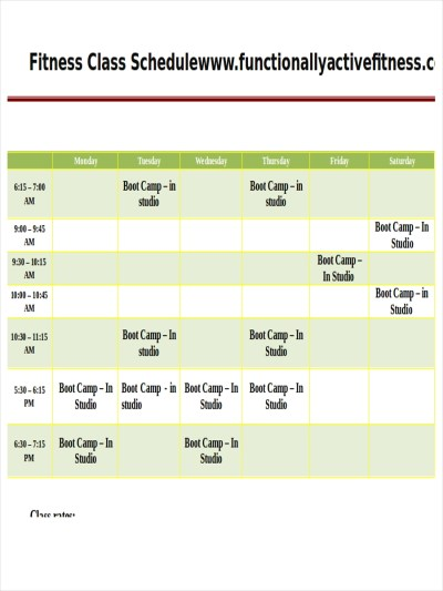 Workout Schedule Sample | EOUA Blog