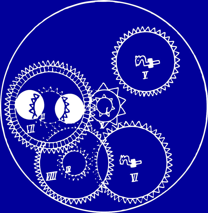 Dainty Technical Drawing Clock Gears Blueprint By Clock Gears Blueprint Drawing By Clock Gear Images Blue Background furniture Clock Gears Images