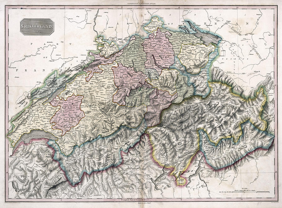 Swisserland Pinkerton Map 1818 Photograph by Compass Rose Maps Switzerland Photograph   Swisserland Pinkerton Map 1818 by Compass Rose Maps
