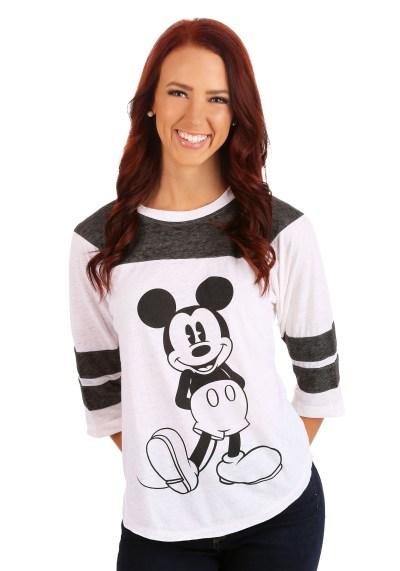 Womens Mickey Mouse 3/4 Sleeve Varsity Shirt