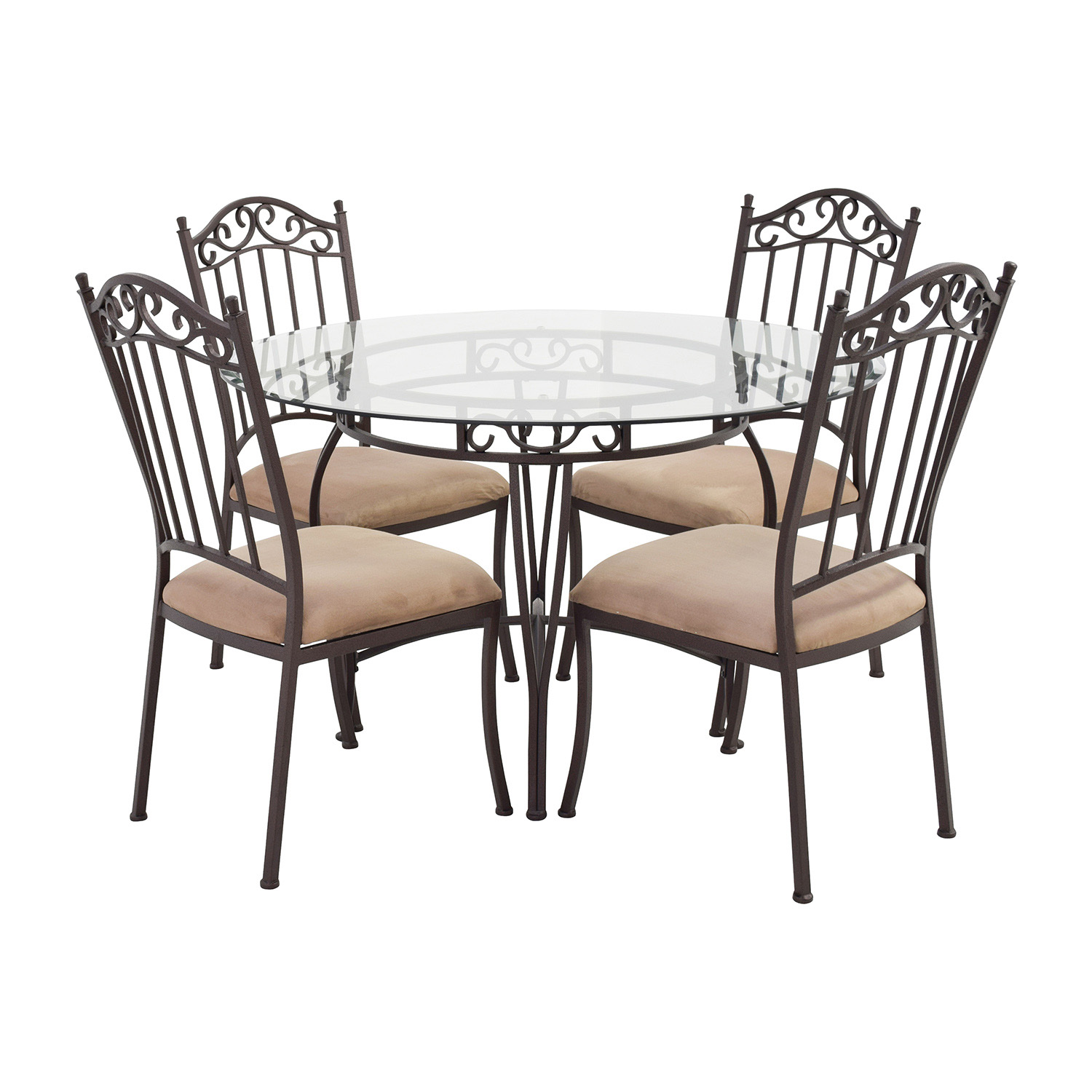 second hand wrought iron round glass table and chairs wrought iron kitchen chairs Wrought Iron Round Glass Table and Chairs Tables