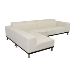 Small Of White Leather Sectional