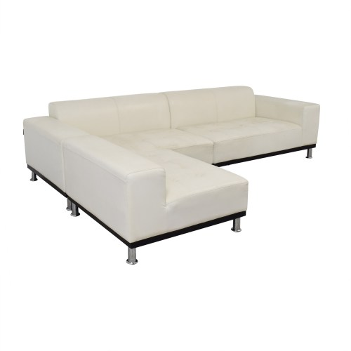 Medium Of White Leather Sectional