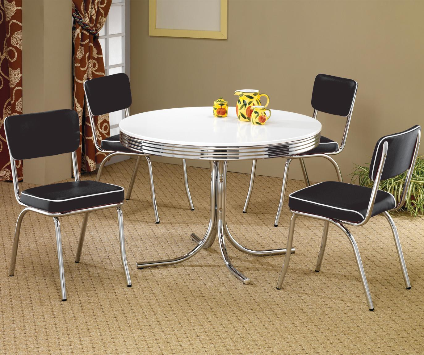 retro kitchen table sets Coaster Cleveland Round Chrome Plated Dining Table Coaster Fine Furniture