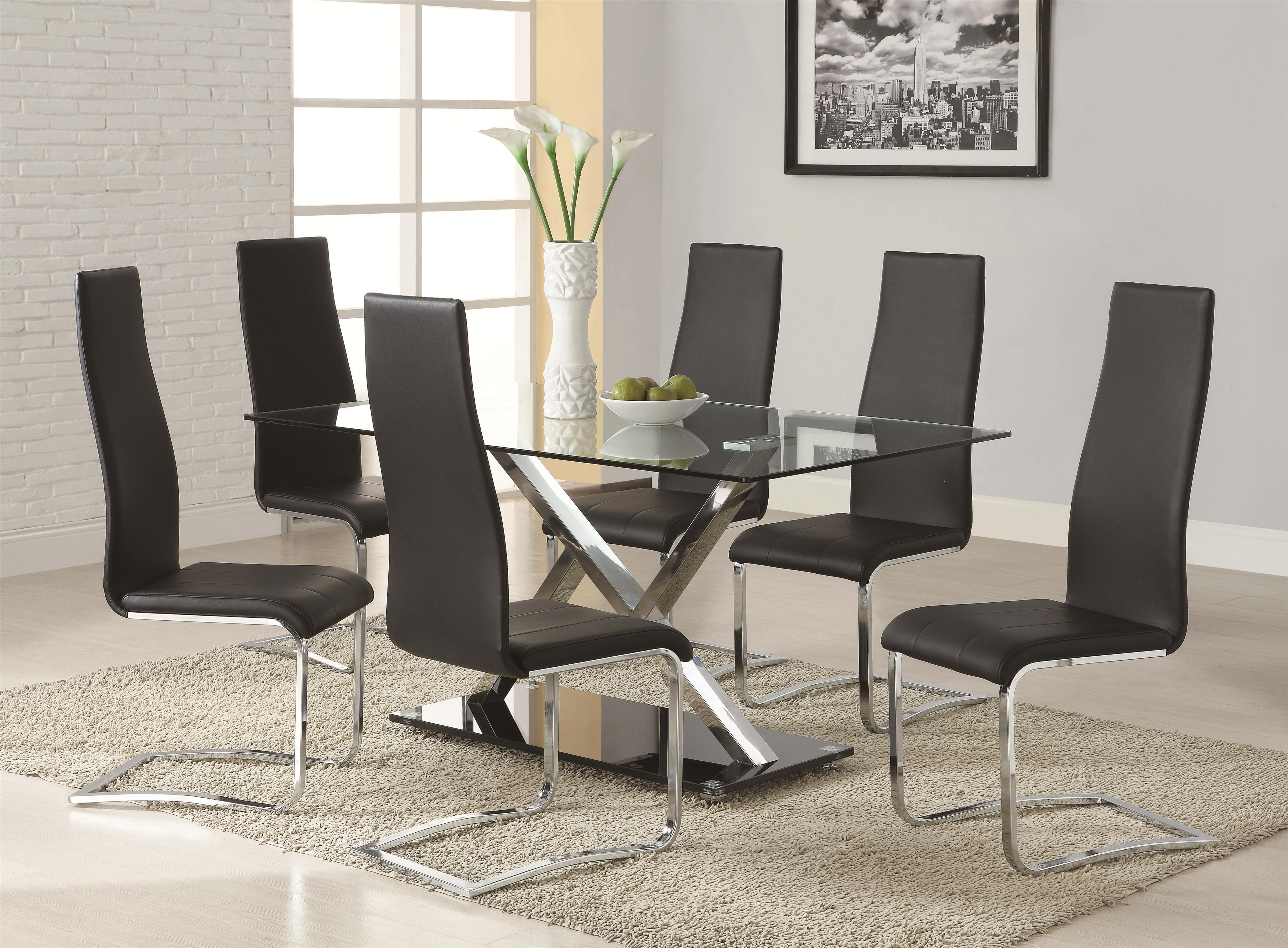 modern kitchen table sets Coaster Modern Dining 7 Piece White Table White Upholstered Chairs Set Suburban Furniture Dining 7 or more Piece Sets