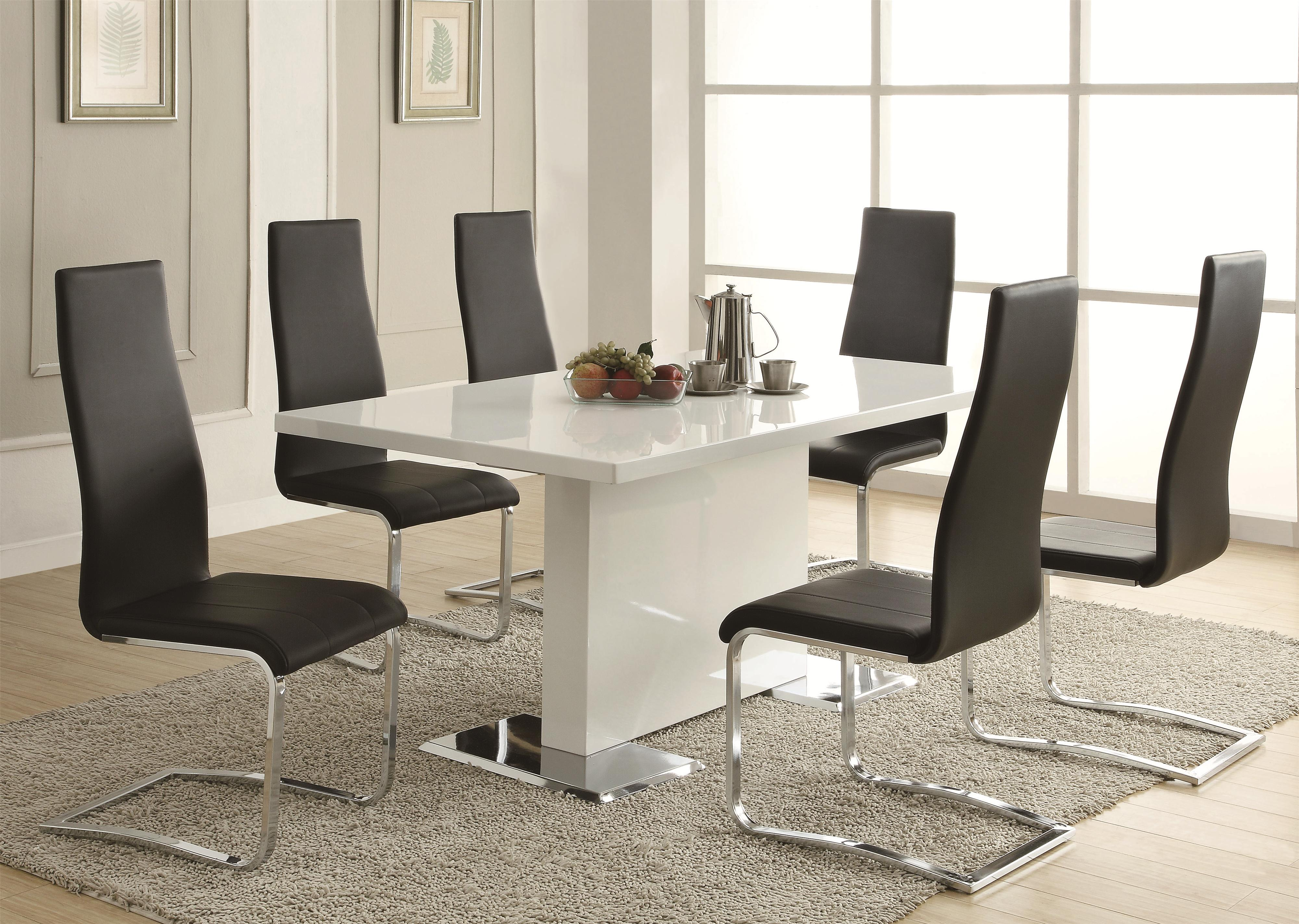 BLK kitchen table chairs set Coaster Modern Dining 7 Piece White Table Black Upholstered Chairs Set Coaster Fine Furniture