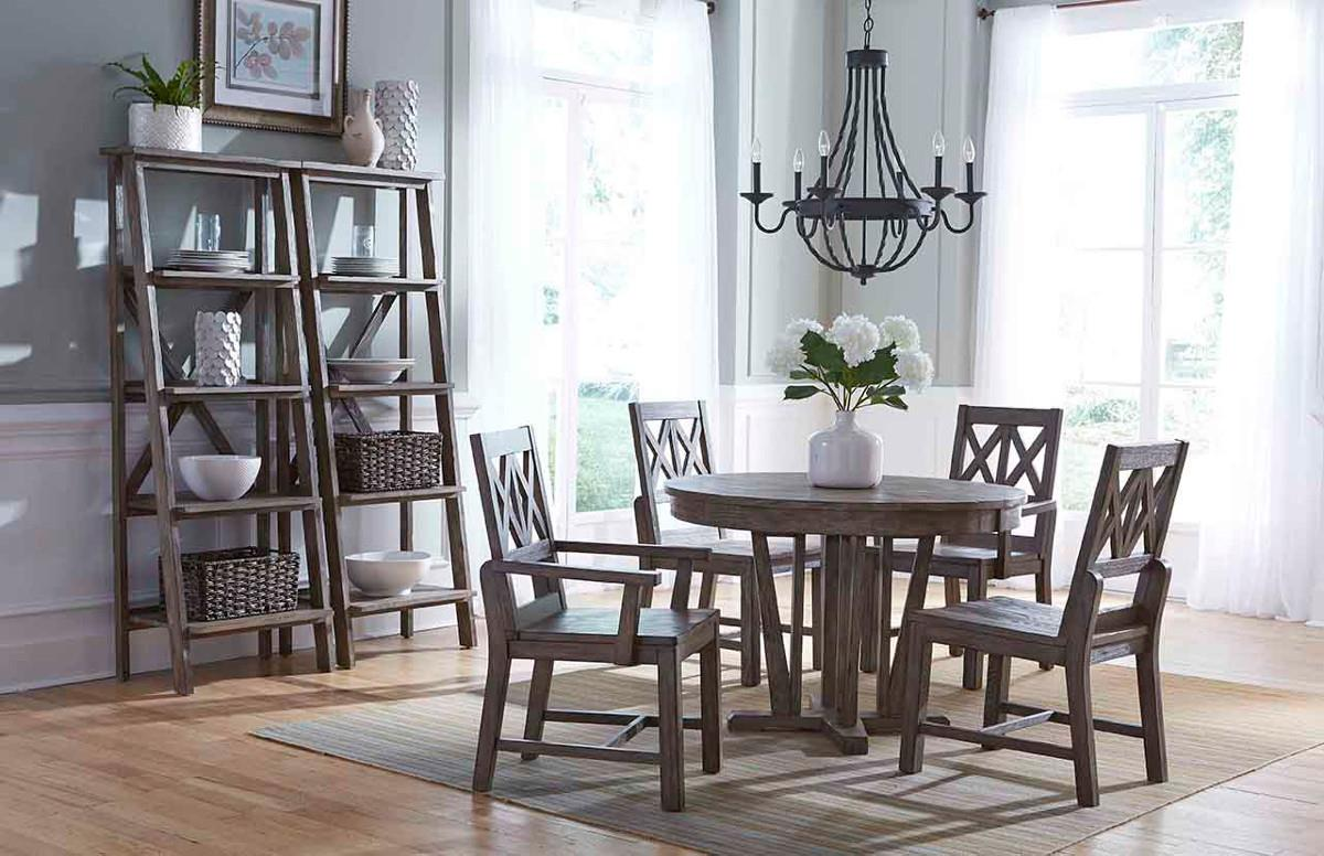gray kitchen table Kincaid Furniture Foundry Rustic Weathered Gray Saw Buck Dining Table with Self Storing Refectory Leaves Wayside Furniture Dining Tables