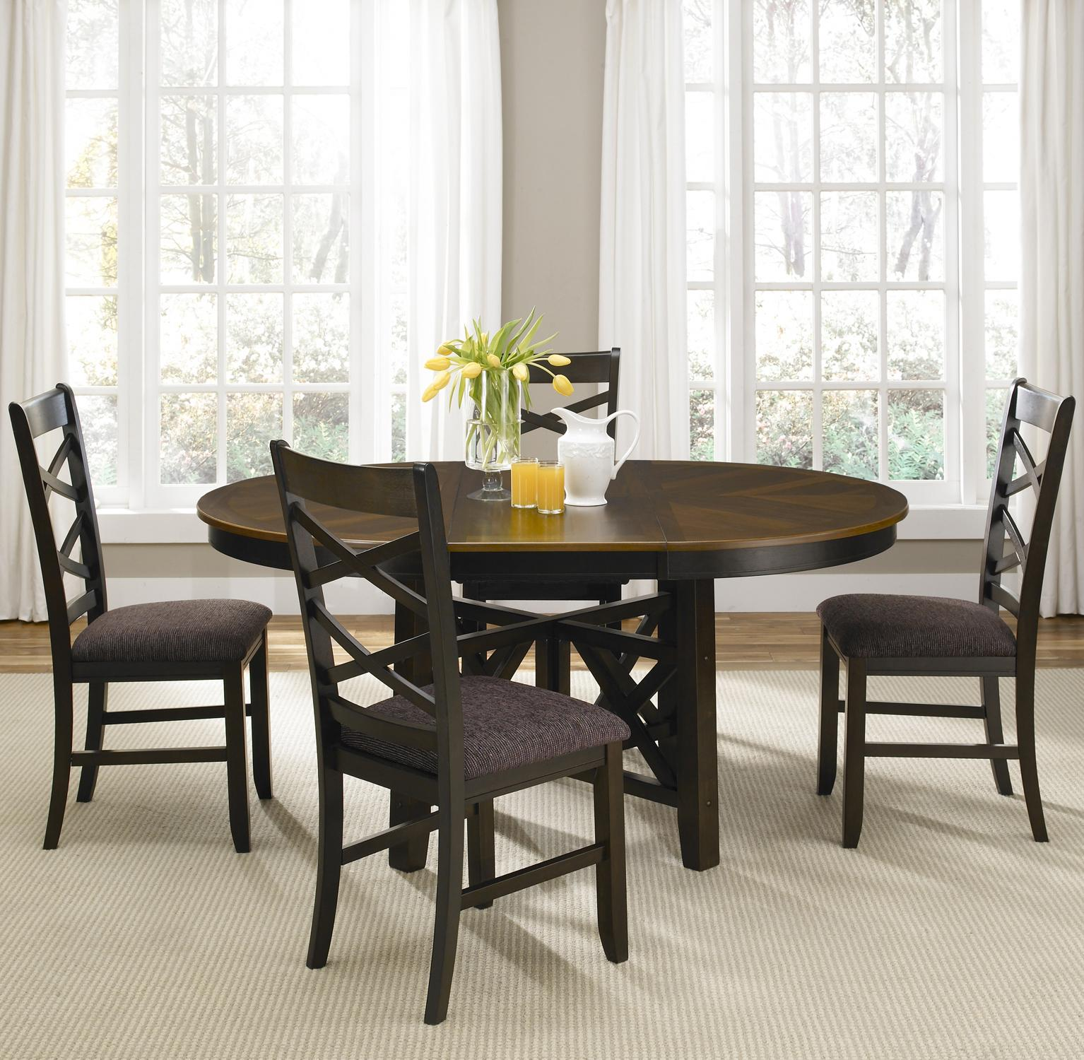 bistro kitchen table Colby Round to Oval Single Pedestal Dining Table with 18 Inch Butterfly Leaf Rotmans Dining Room Table Worcester Boston MA Providence RI