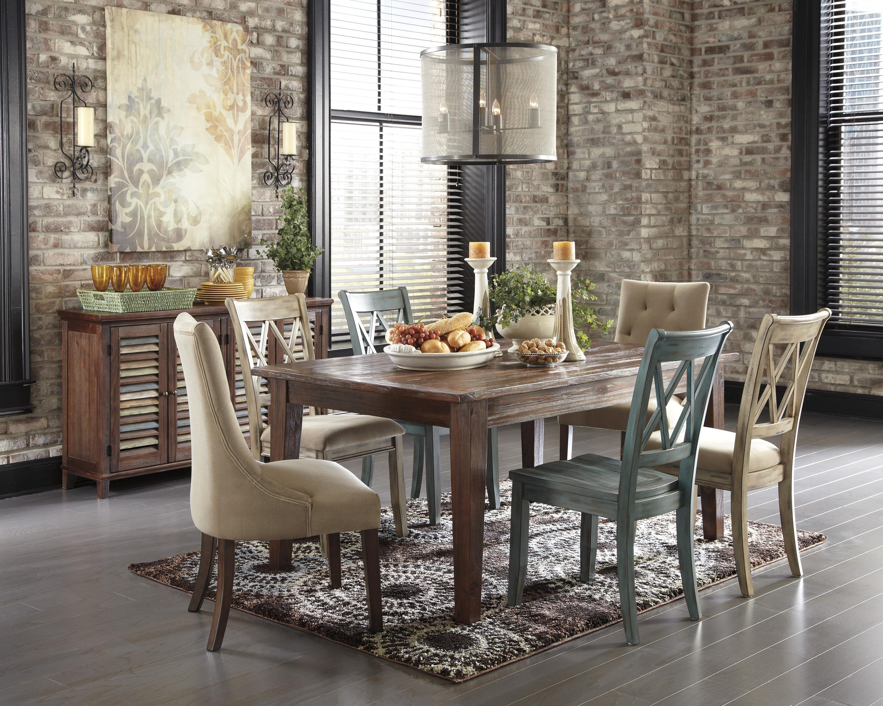 item vintage kitchen tables Signature Design by Ashley Mestler 7 Piece Table Set with Antique White Side Chairs with Upholstered Seats Godby Home Furnishings Dining 7 or more