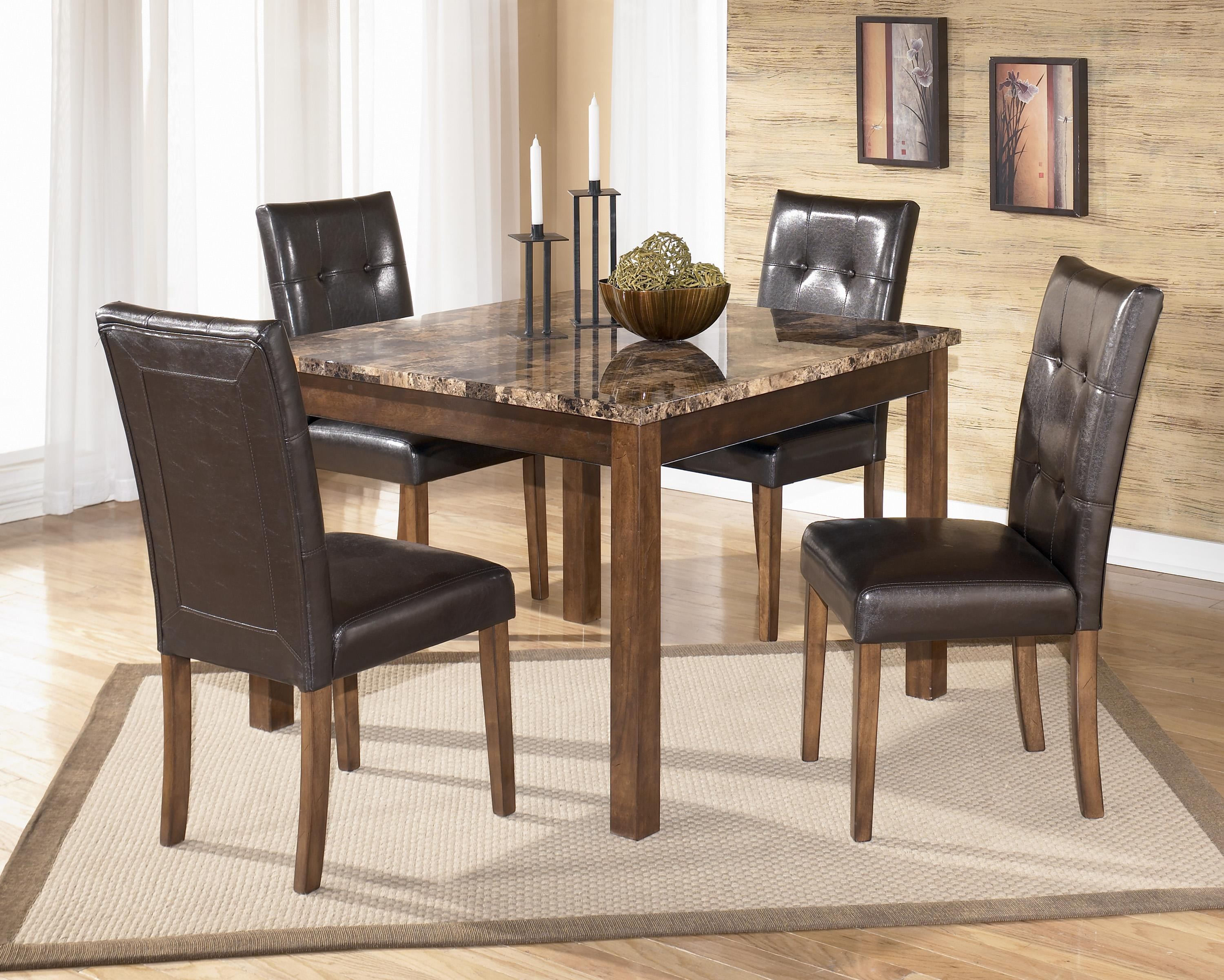 square kitchen table Signature Design by Ashley Furniture Theo 5 Piece Square Counter Height Table Set with Bar Stools Sam s Appliance Furniture Pub Table and Stool Set