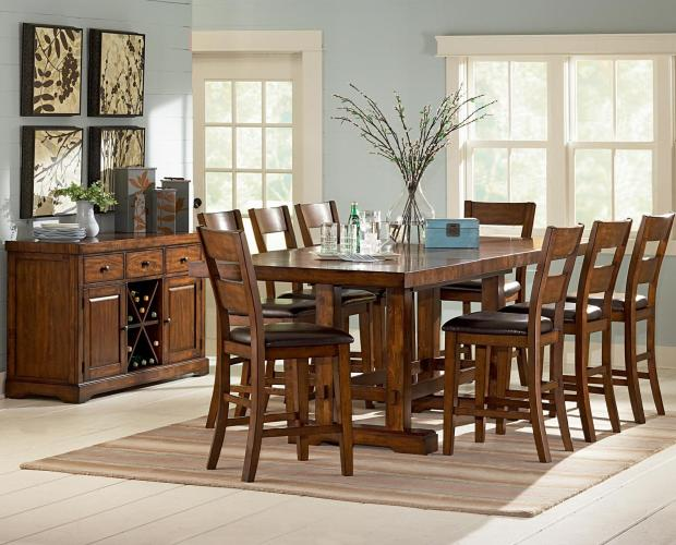 counter height kitchen table Steve Silver Zappa 9 Piece Counter Height Table Chair Set Wayside Furniture Pub Table and Stool Set